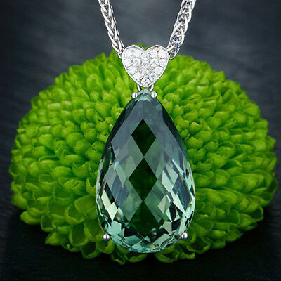 Fashion Natural Green Jewelry Silver Gemstone Pendant Necklace For Women