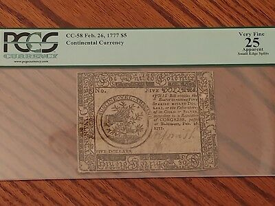 1777 $5 Continental Currency Pcgs Graded Very Fine Great Piece Of History