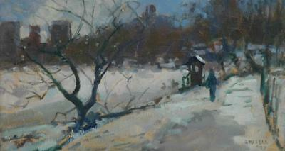 Impressionist Oil on Board of Central Park Near W 72nd St. artist Susan Grisell