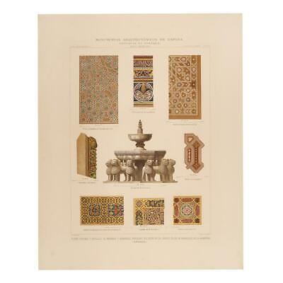 Original engraving Federico Kraus Granada. Central fountain and details of paint