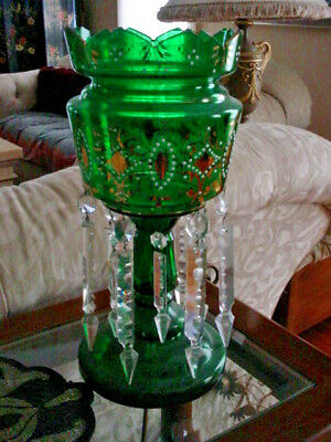 "Vintage Emerald Green Bohemian Lustre-Mantel Piece 12 Leaded Prisms 14"" Tall"