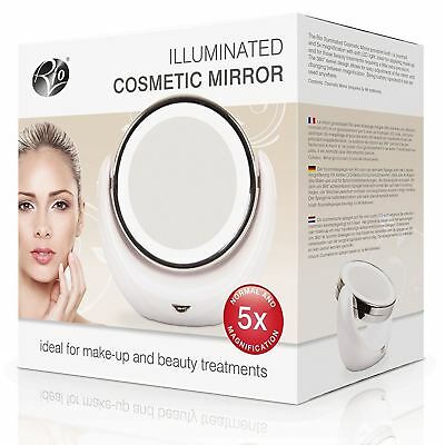 Rio Make Up & Vanity Mirror Illuminated Lighted 1x/5x Magnification Double-Sided