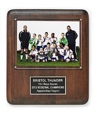 "Personalized Hardwood Award Plaque with Free Engraving and 5""x7"" Photo Holder"