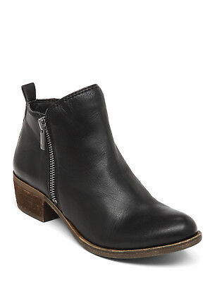 cc4a5a159328 New In Box Womens Lucky Brand Basel Flat Bootie Black Leather Boots LKBASEL