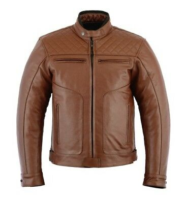 Kozzen's Gear Rksports-Diamond-Mens-Casual-Fashion-Leather-Motorcycle-Brown