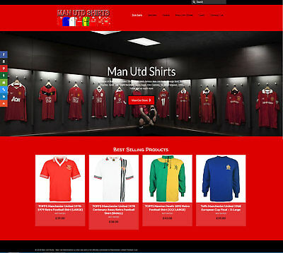 Fully Stocked MAN UTD SHIRTS business: FREE Domain/Hosting. Up to £149 per sale!