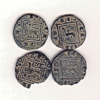 "Cincin 19,Nice Lot 4 Coins Spain, Medieval,Alfonso X,""Obolos"",size 12mm"