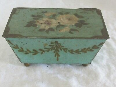 Sweet Vintage Metal Hand Painted Toleware Hinged Trinket Box Flower Blue