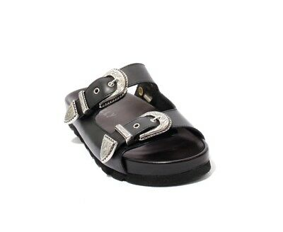 b94bfd08bf0 Mally 6199b Black Silver   Leather Buckle Platform Slides Sandals 41   US 11