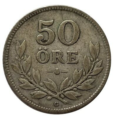 1930 Sweden 50 Ore .600 Silver Coin - 88 Years Old