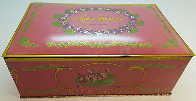 Vintage Louis Sherry Hinged Lid Candy Box Advertising Metal Tin Eagle Can Co