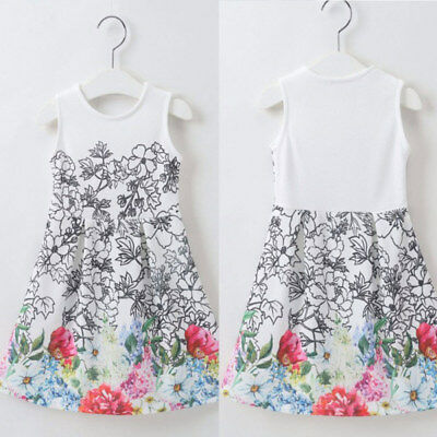 Baby Girl Floral Dress Party Wedding Pageant Formal Dresses Clothes