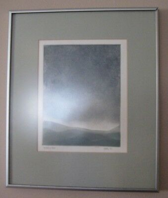 """Original Charcoal Pencil Drawing """"IMPENDING STORM"""" Matted Framed Art 1981 Signed"""