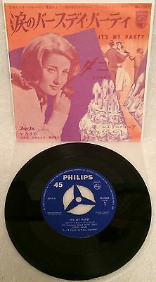 """Leslie Gore """"it's My Party"""" Ultra-Rare Original Japanese 1St Issue Single-45 Ps!"""