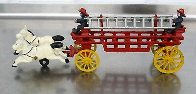 Vintage Cast Iron Toy 2 White Horse Drawn Fire Truck Carriage 2 Fireman With Box