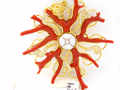 Sun 925 Sterling Silver PLATED Gold Branches Coral Cameo Pendant Italy Jewelry