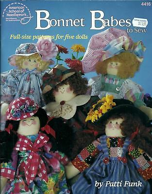 Bonnet Babes To Sew Full-Size Patterns For 5 Dolls Booklet by Patti Funk - ASN