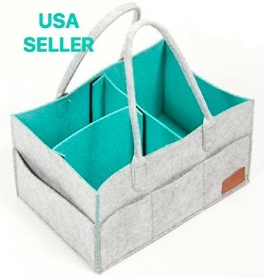 Diaper Caddy, Nursery Storage Bin & Tote Bag for Car Travel and Portable Organiz