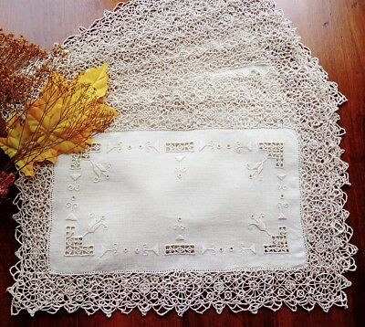 FOUR Antique Italian Linen Placemats Fine Handmade Needle Lace & Embroidery