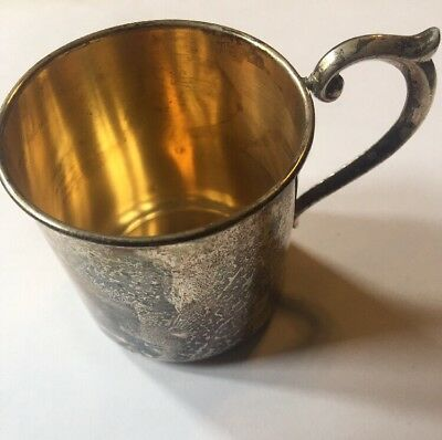 Antique Newport sterling 1626 silver baby cup 42. gm dents no monogram