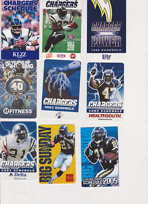 19 San Diego Chargers footballschedules 1986-14  Fouts/Brees/Tomlinson/Seau