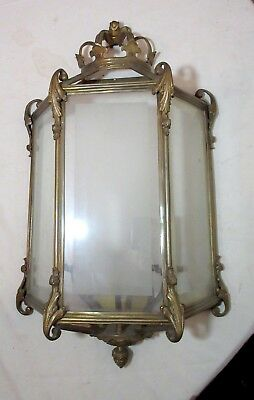 LARGE antique Victorian style gilt bronze brass glass wall electric wall sconce