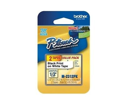 """Brother 0.47"""" Black on White """"m"""" Labeling Tape (Pack of 2) M2312-Pack"""