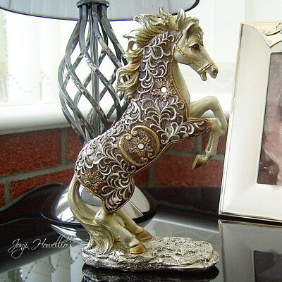 Gold Filigree Horse Rearing Ornament Figurine Gift Shudehill Collectable 23cm