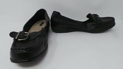 2893c85642a New Womens Thom McAn Leather Buckle Moc Toe Loafer Wide Width Black 80L pr