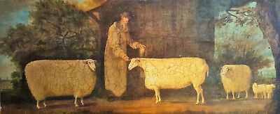 Naive Oleograph Sheep Vintage Antique Folk Art Antique Type Picture on Board