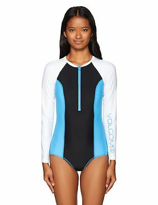 bc51306e83c Volcom Women's Simply Solid Long Sleeve Bodysuit One Piece Swimsuit,  Coastal .