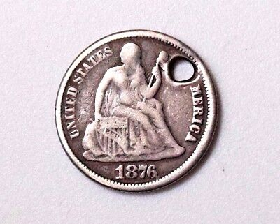 1876 Seated Liberty Silver Dime 10C Collectible Antique World Money Coins R12