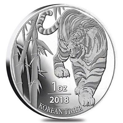2018 South Korea Silver Tiger 1oz BU in Mint Cap with Gift Pouch NDS*