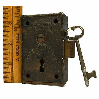 "Antique DAVENPORT MALLORY RIM LOCK + Key! ""D.M. & CO. NEW HAVEN"" c.1861-67 Rare!"