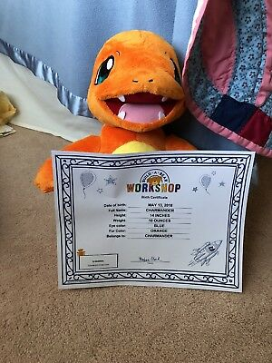 BUILD-A-BEAR CHARMANDER POKEMON Plush with birth certificate and tag ...