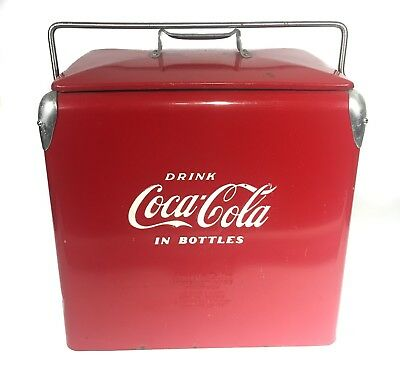 Excellent 1950 Vintage Coca Cola High Boy Ice Chest Cooler w/ Tray & Drain Plug