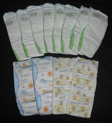 SUPER BIG BABY DIAPERS Loose Lot -12 Diapers - XXL Extra Large Non Vintage thick