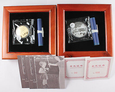 2013 China Shanghai GHETTO Memory PANDA Jewish 1 Oz Gold Silver Proof Medal Set