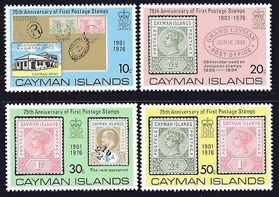 Cayman Islands 1976 Stamp Anniversary set of 4 Mint Unhinged