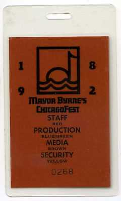 1982 Mayor Byrne's Chicagofest Chicago Media Press Pass Music Festival
