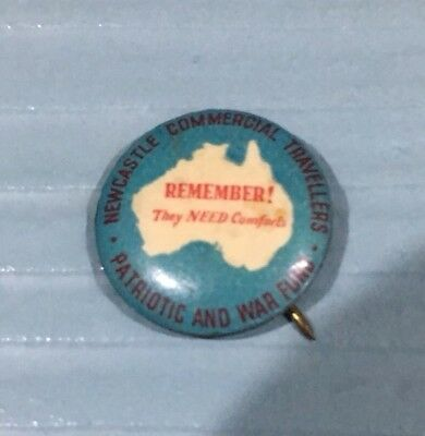 NEWCASTLE Commercial Travellers PATRIOTIC War FUND AUSTRALIA   TIN BADGE Pin