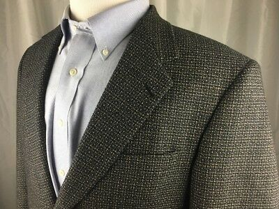 7d5507a496a2 Daniel Hechter Mens 41R 100% Wool 2 Button Sport Coat Jacket Blazer Black  Tan