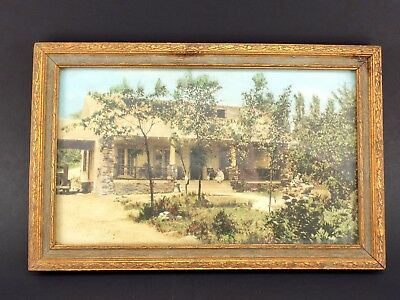 Vintage Antique Framed Hand Colored Photograph - Homestead Ranch House