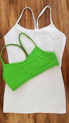 *IVIVVA LULULEMON* Power Y White Bra Tank Top Green Workout Sports dance Lot 12