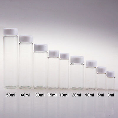 100pcs 50ml Clean Glass Experimental Container Sample Bottle Essential Oil