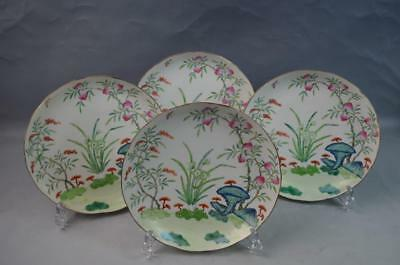 Set of 4 Chinese Famille Rose Porcelain Plates