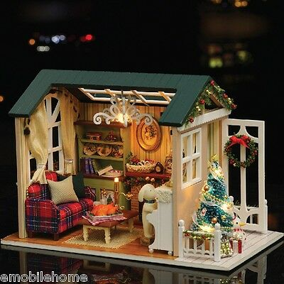 CUTEROOM DIY Wooden House Furniture Handcraft Miniature Box Kit   Holiday  Time