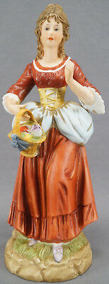 Vintage Hand Painted Ginori Capodimonte Style Colonial Lady Porcelain Figurine