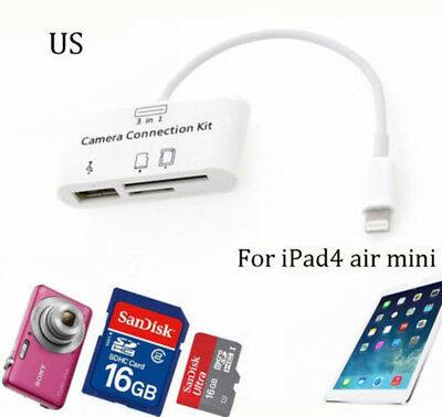 3 in 1 USB Camera Connection Kit SD Card Reader Adapter for iPad 4 iPhone