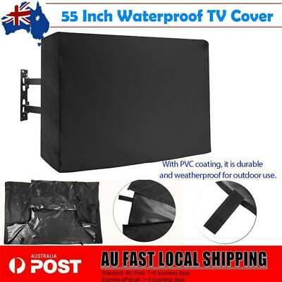 55 Inch Waterproof Television Cover Outdoor TV Cover w/ Remote Control Pocket AU